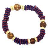 Wood and recycled glass beaded stretch bracelet, 'Star Karma'