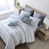 Nautica Fairwater Standard Cotton Reversible Comforter Polyester/Polyfill/Cotton/100% Cotton in Gray, Size Queen Comforter + 3 Standard Shams