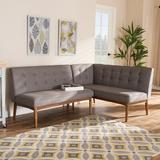George Oliver Bulle Mid-Century Modern Fabric Upholstered 2-Piece Wood Dining Nook Banquette Set Polyester/Polyester Blend/Upholstered in Gray