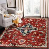 Bungalow Rose Emmey Southwestern Hand Hooked Wool/Beige Area Rug Wool in Red, Size 84.0 W x 0.5 D in | Wayfair BE71492260C942DE9DD23033D5B2B7FC