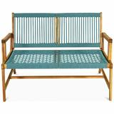 Winston Porter 2-Person Patio Acacia Wood Yard Bench-Turquoise Wood in Blue/Brown, Size 32.0 H x 29.5 W x 46.5 D in | Wayfair