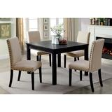 Alcott Hill® West Broadway 4 - Person Dining Set Wood/Upholstered Chairs in Black/Brown, Size 30.5 H in   Wayfair E3FE395D6A2F40A381CC1460C8E43BB8