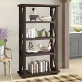 """Rosalind Wheeler Ault 68"""" H x 39"""" W Solid Wood Etagere Bookcase Wood in Brown/Green, Size 68.0 H x 39.0 W x 15.0 D in 