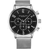 Monaco Chronograph Quartz Black Dial Watch - Black - Stuhrling Original Watches
