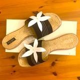 Kate Spade Shoes | Kate Spade Elba Slip On Sandals, Size 9 | Color: Black/White | Size: 9