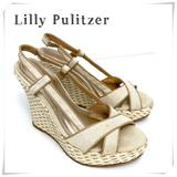 Lilly Pulitzer Shoes | Lilly Pulitzer Ashley Raffia Wedge Canvas Sandal | Color: Cream/White | Size: 8.5