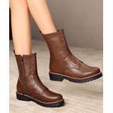 BUTITI Women's Casual boots DEEP - Deep Brown Grommet-Accent Combat Boot - Women