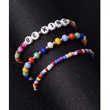 Street Region Women's Bracelets Colored - Multicolor & Goldtone 'Be Kind' Beaded Bracelet Set