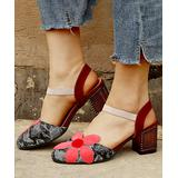 YASIRUN Women's Sandals Red - Red Snake-Embossed Floral Closed-Toe Sandal - Women