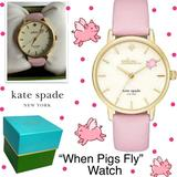 Kate Spade Jewelry | Kate Spade When Pigs Fly Pink Watch Nwt In Box | Color: Gold/Pink | Size: Os