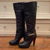 Coach Shoes | Coach Black Leather And Gold Knee High Boots | Color: Black/Gold | Size: 7