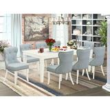Canora Grey Gastonia Butterfly Leaf Rubberwood Solid Wood Dining Set Wood/Upholstered Chairs in White, Size 30.0 H in | Wayfair