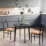 Ebern Designs 2 - Person Dining Set Wood/Metal/Upholstered Chairs in Black/Brown/Gray, Size 29.0 H in | Wayfair 6B093D33AD4D418BA8B540DD1149C0BA