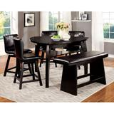 Red Barrel Studio® 6 - Person Counter Height Dining Set Wood/Upholstered Chairs in Black/Brown, Size 36.0 H in   Wayfair