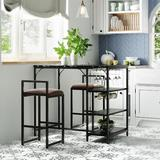 17 Stories 2 - Person Counter Height Dining Set Metal/Upholstered Chairs in Black, Size 35.4 H in   Wayfair F442ACFCEF0C4025B87C736E4798F903