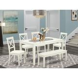 Rosalind Wheeler Decosta 6 - Piece Solid Wood Dining Set Wood/Upholstered Chairs in White, Size 30.0 H in   Wayfair