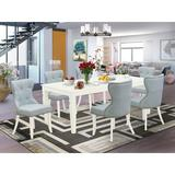 Canora Grey Gasquet Butterfly Leaf Rubberwood Solid Wood Dining Set Wood/Upholstered Chairs in White, Size 30.0 H in | Wayfair
