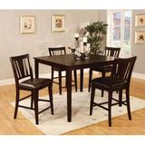 Red Barrel Studio® 4 - Person Counter Height Dining Set Wood/Upholstered Chairs in Brown, Size 36.0 H in | Wayfair 4279F1007BC74F3BAA6E1D8DAEA9436A