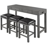 Red Barrel Studio® 3 - Person Counter Height Acacia Solid Wood Dining Set Wood/Upholstered Chairs in Gray, Size 36.0 H in | Wayfair