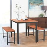 Ebern Designs Dining Room, 3 Pieces Farmhouse Kitchen Table Set w/ Two Benches, Metal Frame & MDF Board, Modern Furniture For Home, Cafeteria