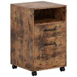 17 Stories Lateral Filing Cabinet w/ 2 Drawers Industrial Printer Stand On Wheels Home Office Cabinet Open Shelf Mobile Vertical File Cabinet