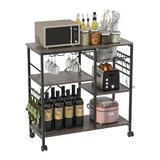 17 Stories Kitchen Cart w/ Storage Basket Wood in Black, Size 33.3 H x 35.4 W x 15.0 D in | Wayfair 2431C1FBACDD4F5DA5DEA9D44F8316B4