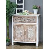 Bungalow Rose Weathered Wood Cabinet w/ 1 Drawer Wood in Brown/White, Size 31.875 H x 28.75 W x 14.75 D in | Wayfair