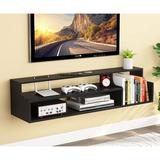 Ebern Designs Modern Floating TV Shelf, Wall Mounted Media Console Television/Audio/Video Console Media Storage Component Shelves Wood in Black