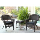 Espresso Wicker Chair And End Table Set With Black Chair Cushion- Jeco Wholesale W00201_2-CES017