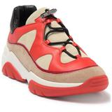 Leather Colorblock Tennis Shoe - Orange - Longchamp Sneakers