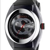 Gucci Accessories | Gucci Sync Unisex Striped Watch 46mm Ya137101 | Color: Black | Size: Unisex