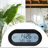 Latitude Run® Digital Battery Operated Multifunctional Small Clock Alarm Clock w/ Light,Snooze,Calendar,Indoor Temperature&Humidity,12/24Hr For Desk,Travel