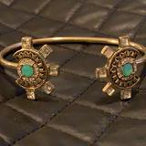 Free People Jewelry | Fp Gold Aztec Sun Opal Crystal Open Cuff Bracelet | Color: Gold | Size: Os