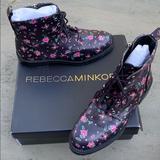Rebecca Minkoff Shoes | Rebecca Minkoff Gerry Floral Combat Boots 8 | Color: Black/Purple | Size: 8