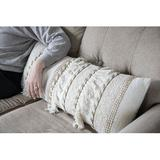 """Foreside Home & Garden Oversized 14X36"""" Hand Woven Decorative Cotton & Jute Lumbar Throw Pillow w/ Hand Tied Fringe Polyester/Polyfill/Cotton"""