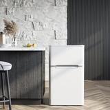 Victorim 3.2 Cubic Feet cu. ft. Freestanding Mini Fridge w/ Freezer Stainless Steel in White, Size 33.05 H x 19.4 W x 19.9 D in | Wayfair RF-B-W3