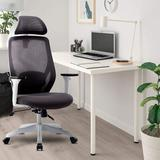 Inbox Zero Mesh Heavy Duty Ergonomic Office Chair,Adjustable Headrest & Armrest Upholstered/Mesh in White, Size 48.23 H x 24.6 W x 25.6 D in Wayfair
