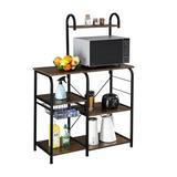 17 Stories 4 Tier Microwave Oven Ladder Shelf Storage Organizer Shelves Rack For Garage Kitchen Bakers w/ 10 Hooks Brown Wood/Manufactured Wood