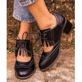 RXFSP Women's Oxfords Black - Black Cutout Oxford Shoe - Women