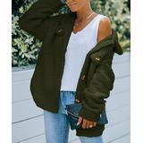 Abyoxi Women's Non-Denim Casual Jackets army - Army Green Fuzzy Coat - Women