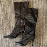 Nine West Shoes   Black Stiletto Snakeskin Knee High Pointy Boots   Color: Black   Size: 7.5