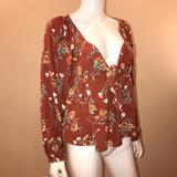 American Eagle Outfitters Tops   American Eagle Floral Boho Babydoll Top   Color: Orange   Size: M