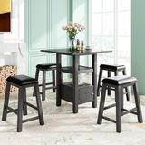 Gracie Oaks 5 Pieces Counter Height Wood Kitchen Dining Table Set w/ 4 Upholstered Stools w/ Storage Cupboard & Shelf For Small Places Wood/Metal