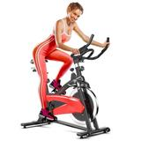 Costway Magnetic Exercise Bike Fitness Cycling Bike with 35Lbs Flywheel for Home and Gym-Black & Red