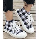 BUTITI Women's Sneakers BLACK - Black & White Buffalo Check Hi-Top Sneaker - Women