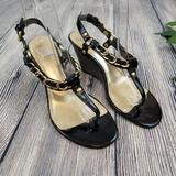 Coach Shoes | Coach Honora Black And Gold Chain Wedge Sandals | Color: Black/Gold | Size: 6.5