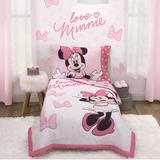 Disney Bedding | New!!! Minnie Mouse 4-Pc Toddler Bed Set | Color: Pink/White | Size: Toddler Bed