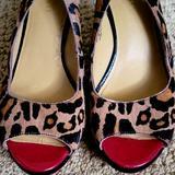 Nine West Shoes | Open Toe Pumps | Color: Black/Red | Size: 7