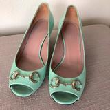 Gucci Shoes   Auth Gucci Peep Toe Horse Bit Kitten Pumps 37.5   Color: Blue/Green   Size: 7.5