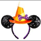 Disney Accessories | Disney Minnie Witch Halloween Sequin Ear Headband | Color: Black/Orange | Size: Os
